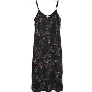Love Fire Black Print Midi Slip Dress New Small